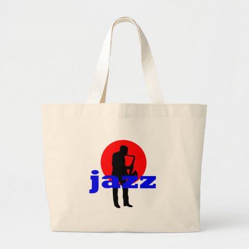 Jugador de saxofón del jazz bolsa tela grande