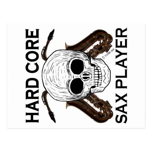 Jugador de saxofón del núcleo duro tarjeta postal