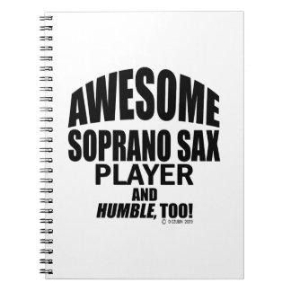 Jugador de saxofón impresionante del soprano libros de apuntes con espiral
