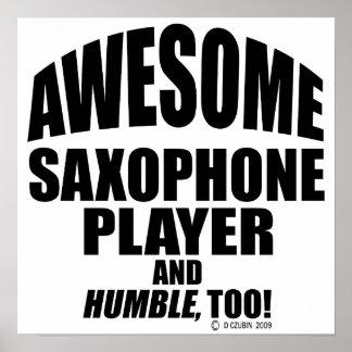 Jugador de saxofón impresionante póster