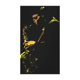 Jugador de saxofón impresión en lona estirada