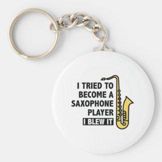 Jugador de saxofón llavero redondo tipo pin