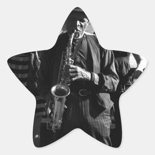 Jugador de saxofón calcomanías forma de estrellas personalizadas