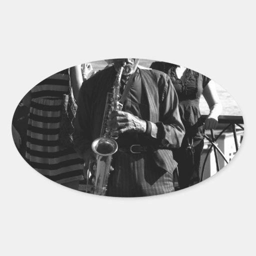 Jugador de saxofón pegatinas óval personalizadas