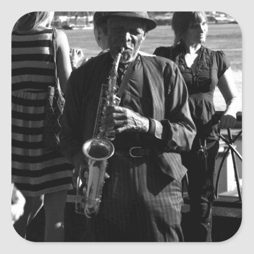 Jugador de saxofón pegatina cuadradas