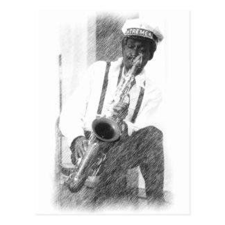 Jugador de saxofón por el ciervo tarjeta postal