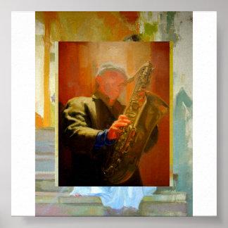 Jugador de saxofón póster