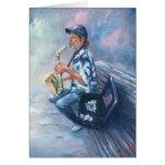 Jugador de saxofón tarjetón