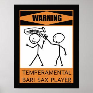 Jugador de saxofón temperamental amonestador de Ba Posters