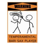 Jugador de saxofón temperamental amonestador de postales