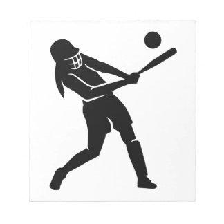 Jugador de softball bloc de notas