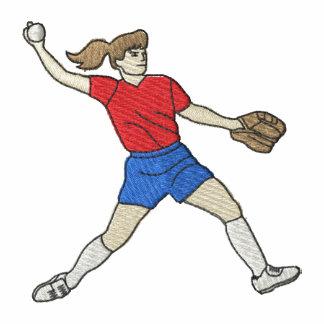 Jugador de softball de la mujer camiseta polo bordada