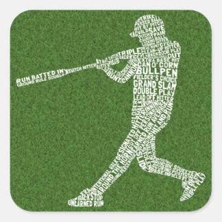 Jugador de softball del béisbol tipográfico pegatina cuadrada