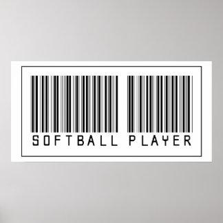 Jugador de softball del código de barras póster