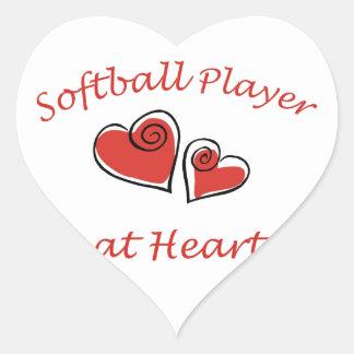 Jugador de softball en el corazón pegatina en forma de corazón