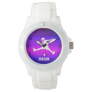 Jugador de tenis; Azul violeta y magenta vibrantes Relojes