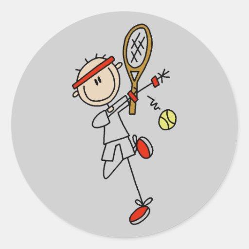 Jugador de tenis con las camisetas y los regalos pegatina redonda