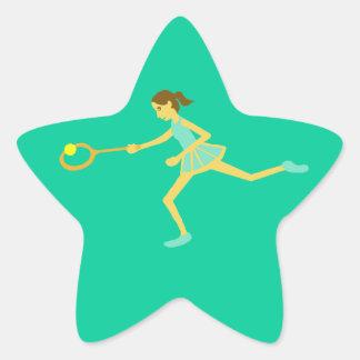 Jugador de tenis de la estrella pegatina en forma de estrella