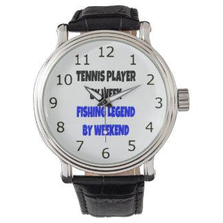 Jugador de tenis de la leyenda de la pesca reloj