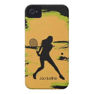 Jugador de tenis de la mujer iPhone 4 Case-Mate fundas