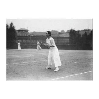 Jugador de tenis de la mujer que consigue la fotog impresión en lienzo