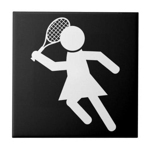 Jugador de tenis de la mujer - símbolo del tenis ( azulejos ceramicos