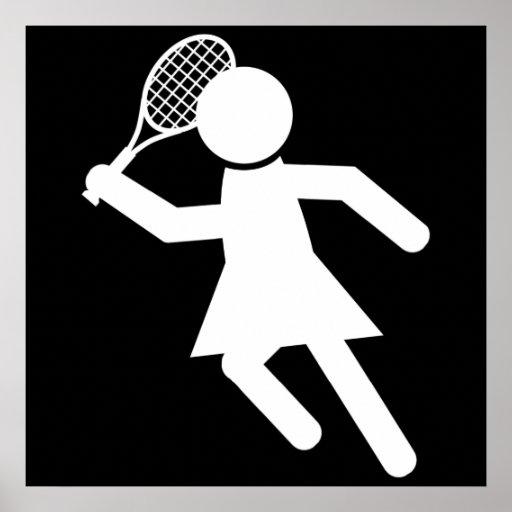 Jugador de tenis de la mujer - símbolo del tenis póster