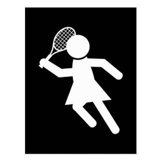 Jugador de tenis de la mujer - símbolo del tenis postal
