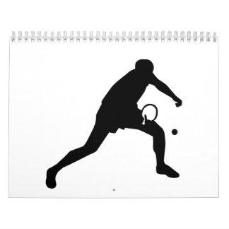 Jugador de tenis de mesa del ping-pong calendario de pared