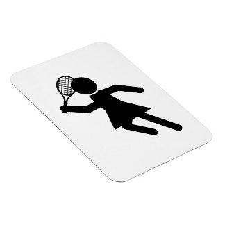 Jugador de tenis de sexo femenino - símbolo del te imán de vinilo