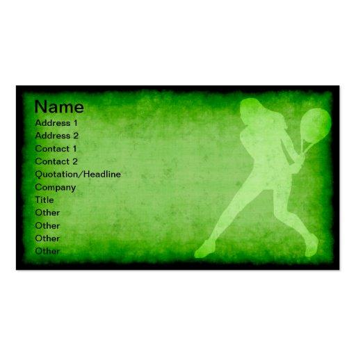 Jugador de tenis de sexo femenino tarjetas de visita