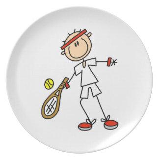 Jugador de tenis de sexo masculino platos de comidas