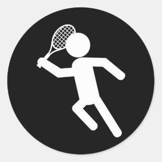 Jugador de tenis de sexo masculino - símbolo del etiquetas redondas