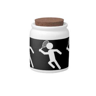 Jugador de tenis de sexo masculino - símbolo del t platos para caramelos