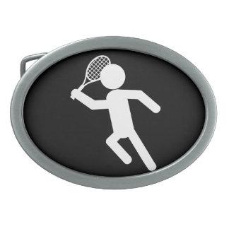 Jugador de tenis de sexo masculino - símbolo del t hebillas cinturon ovales