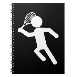 Jugador de tenis de sexo masculino - símbolo del t libro de apuntes con espiral