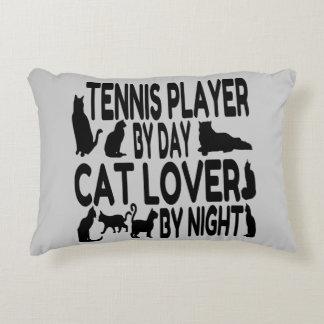 Jugador de tenis del amante del gato cojín