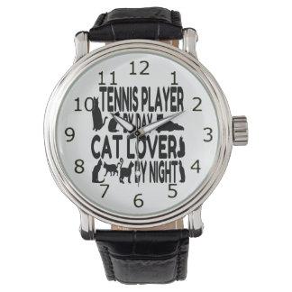 Jugador de tenis del amante del gato relojes de mano