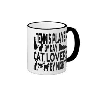 Jugador de tenis del amante del gato taza a dos colores