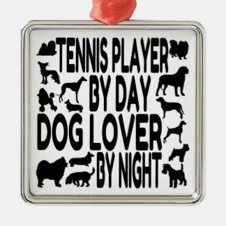 Jugador de tenis del amante del perro ornamento para arbol de navidad
