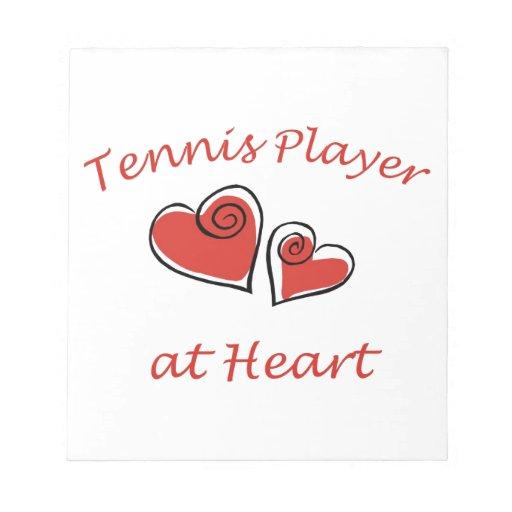Jugador de tenis en el corazón bloc de notas