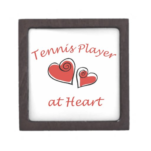 Jugador de tenis en el corazón cajas de recuerdo de calidad