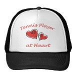 Jugador de tenis en el corazón gorros