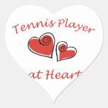 Jugador de tenis en el corazón pegatina en forma de corazón