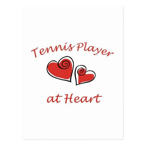 Jugador de tenis en el corazón tarjeta postal