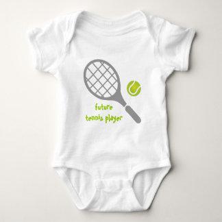 Jugador de tenis, estafa de tenis y bola futuros body para bebé