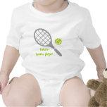 Jugador de tenis, estafa de tenis y bola futuros trajes de bebé