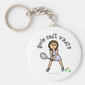 Jugador de tenis ligero de los chicas llaveros personalizados