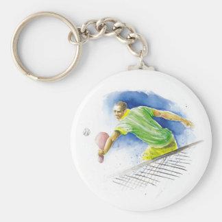 Jugador de tenis llavero redondo tipo pin