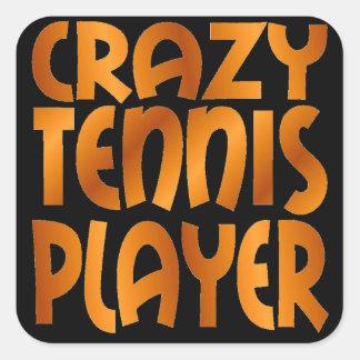 Jugador de tenis loco en oro calcomanía cuadradas personalizadas